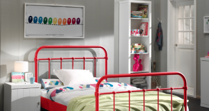 Metalowe łóżko młodzieżowe New York czerwone