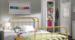 Metalowe łóżko dla dziecka New York żółte