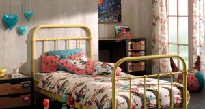 łóżko metalowe pojedyncze New York żółte