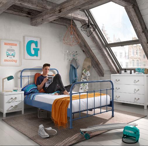 Łóżko metalowe 200×120 New York niebieskie