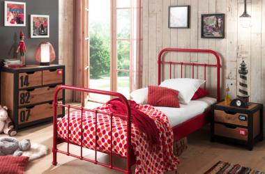 metalowe łóżko dla dziewczynki New York czerwone