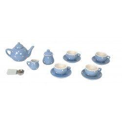 Serwis do herbaty dla dzieci porcelanowy niebieski