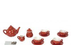 Serwis do herbaty zabawka porcelanowy czerwony