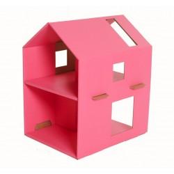 Domek z tektury dla lalek różowy