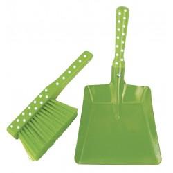Zmiotka i szufelka dla dzieci zielone