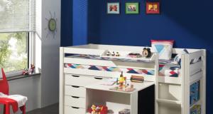 Niskie łóżko piętrowe dla dzieci Pino z biurkiem