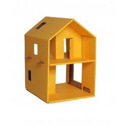 Tekturowy domek dla lalek żółty