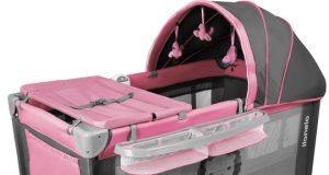 Łóżeczko turystyczne różowe dwa poziomy LIONELO SVEN