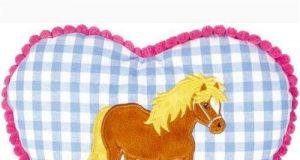 Dziecięca poduszka z koniem niebieska