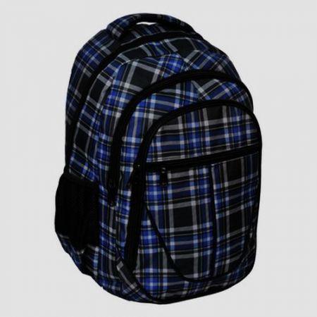 Plecak młodzieżowy kratka czarno-niebieska