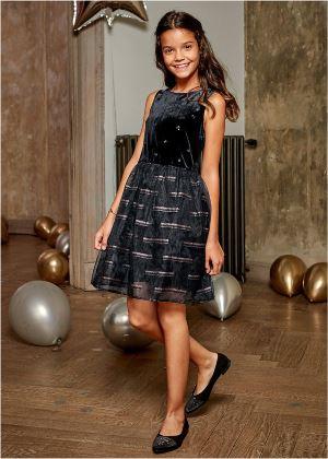 Sukienka dziewczęca aksamitna z tiulową wstawką czarna