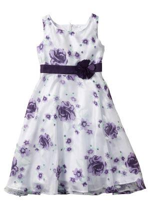 Sukienka dla dziewczynki w kwiaty biało fioletowa