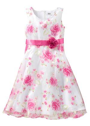 Sukienka dla dziewczynki w kwiaty różowa