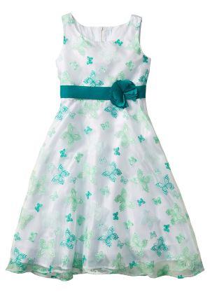 Sukienka dla dziewczynki w motylki zielona