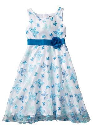 Sukienka dla dziewczynki w motylki niebieska