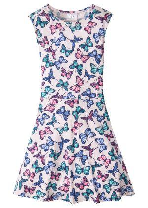 Sukienka dziewczęca z nadrukiem w motyle