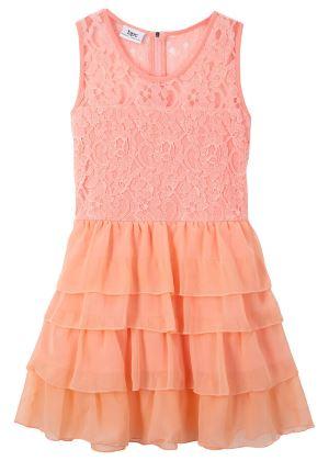 Sukienka koronkowa dla dziewczynek łososiowa