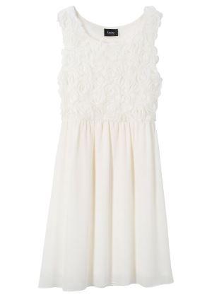 Biała sukienka z różami dla dziewczynki