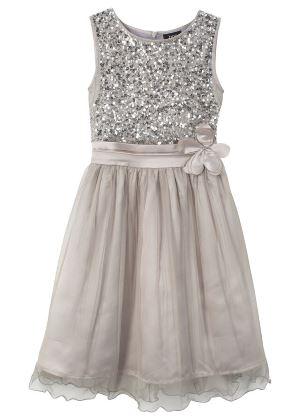 Srebrna sukienka z cekinami dla dziewczynki