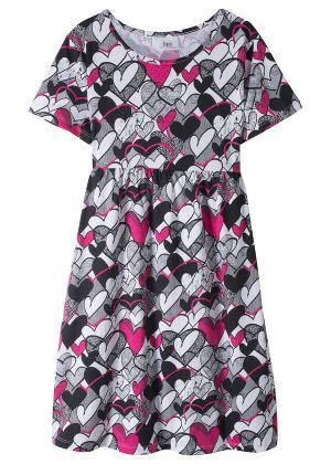 Dziecięca sukienka shirtowa w serduszka