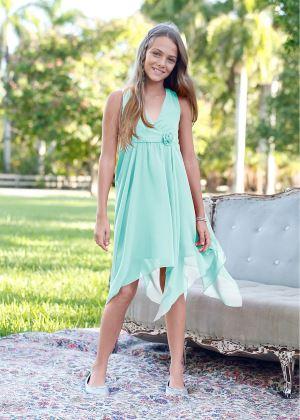 Sukienka szyfonowa dla dziewczynki z kwiatkiem miętowa
