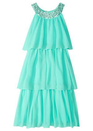 Sukienka szyfonowa z cekinami jasno niebieska