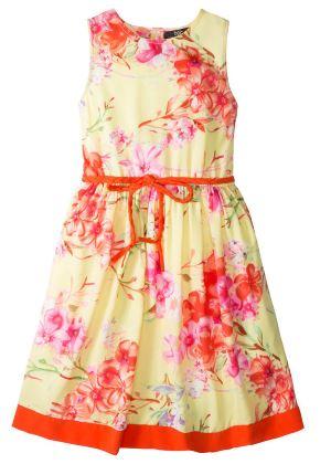 Dziecięca sukienka w kwiaty, z paskiem