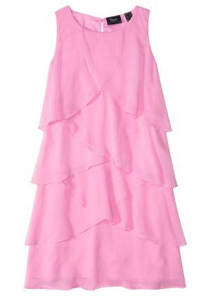 Urocza sukienka z falbanami różowa