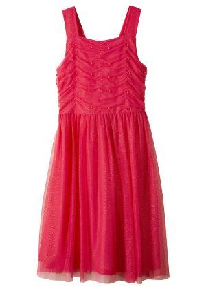 Różowa sukienka z perełkami dla dziewczynki