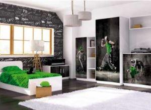 Meble młodzieżowe białe czarne zielone BAGGI DESIGN MIX HIP HOP GREEN