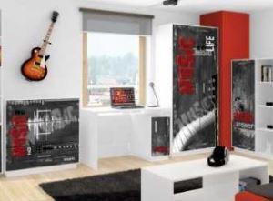 Meble młodzieżowe nowoczesne BAGGI DESIGN MIX RED MUSIC